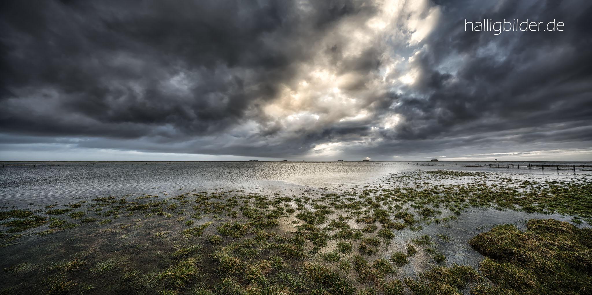 FEBRUAR 2019: morgens nach einem nächtlichen Landunter, das Meer gibt das Halligland wieder frei